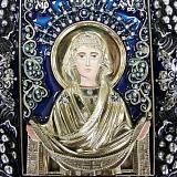 Икона Покрова Божией Матери с эмалью и фианитами