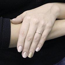 Золотое помолвочное кольцо Валетта в белом цвете с бриллиантом