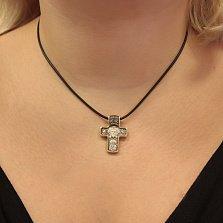 Серебряный двусторонний крестик Царь Славы с чернением и позолотой