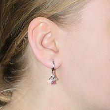 Серебряные серьги-подвески Илона с рубинами и фианитами