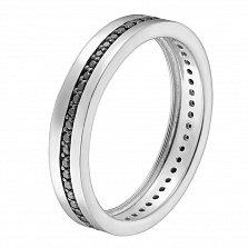Обручальное кольцо в белом золоте Гортензия с черными фианитами