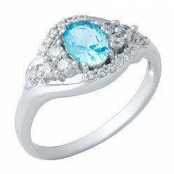 Серебряное кольцо Венера с аквамарином и фианитами