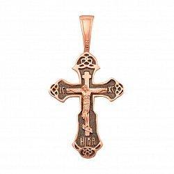 Крестик из красного золота с чернением 000132750