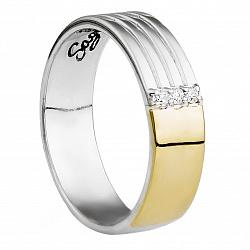 Серебряное обручальное кольцо Вечность с золотом и фианитами