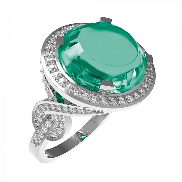 Серебряное кольцо Миранда с зеленым агатом и фианитами 000079686