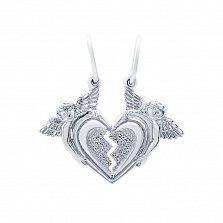Серебряный парный кулон Влюбленные сердца (разламывающийся для двоих)