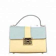 Кожаная деловая сумка Genuine Leather 8644 желто-голубого цвета с клапаном на механическом замке