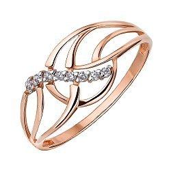 Кольцо из красного золота с фианитами 000147951