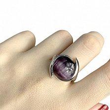 Серебряное кольцо Томирис с фиолетовым кошачьим глазом