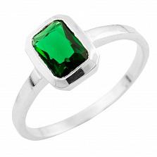Серебряное кольцо Ирэн с синтезированным изумрудом