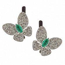 Серебряные серьги с бриллиантами и изумрудами Патрисия