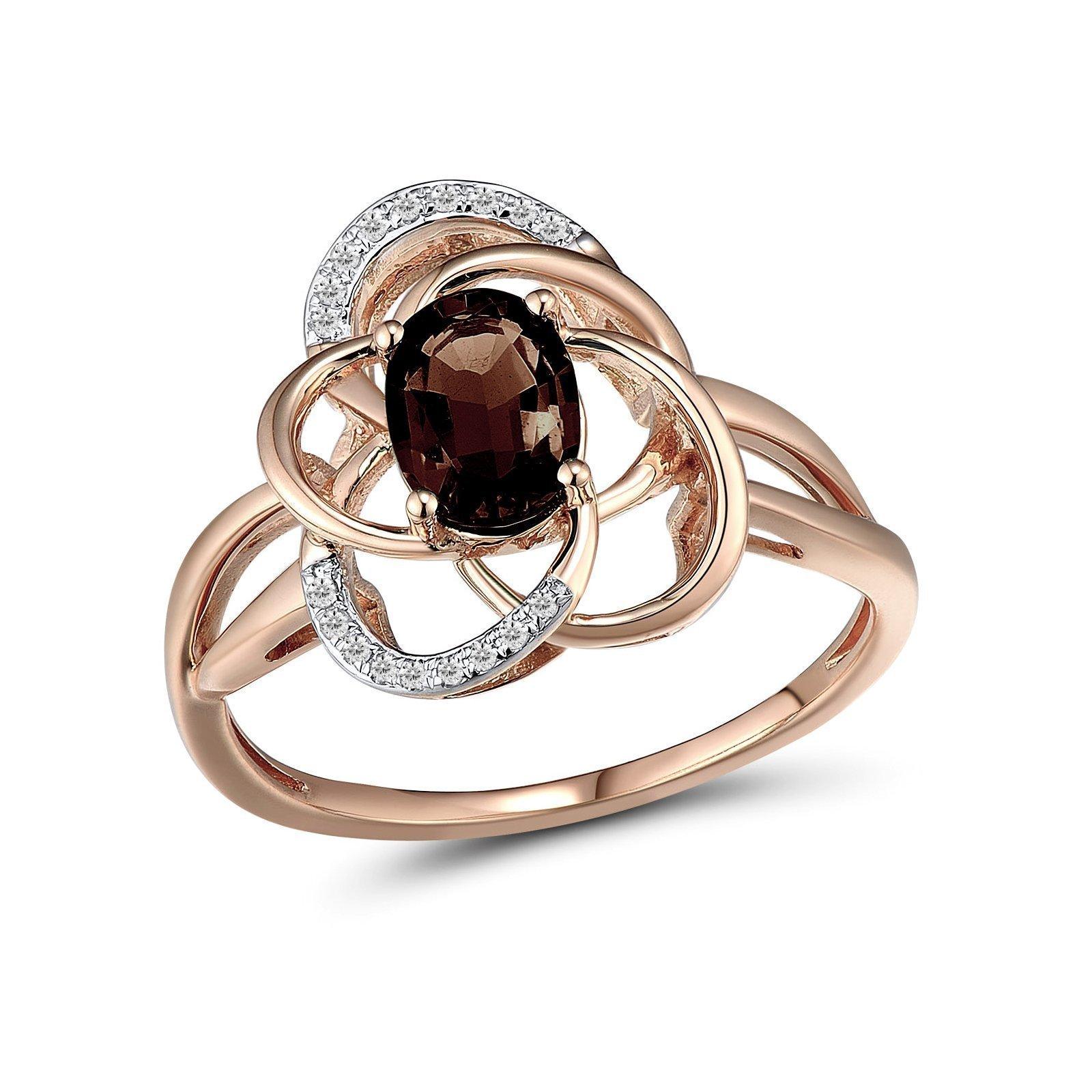 Кольцо из красного золота Вера с бриллиантами и дымчатым кварцем