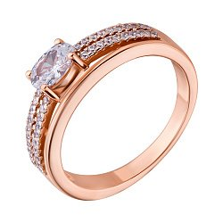 Позолоченное серебряное кольцо с цирконием 000028397