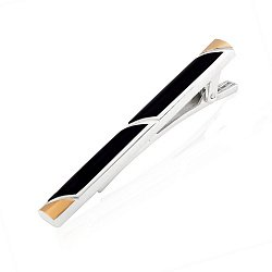 Серебряный зажим для галстука с золотыми вставками и черным ониксом 000116070