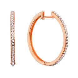 Золотые серьги-кольца в комбинированном цвете с фианитами 000126164