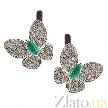 Серебряные серьги с бриллиантами и изумрудами Патрисия ZMX--EDE-6722-Ag_K