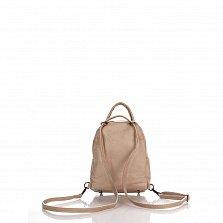 Кожаный рюкзак Genuine Leather 8002 цвета тауп с накладным карманом на молнии