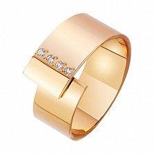 Золотое обручальное кольцо Соединение судеб в красном цвете с фианитами
