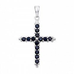 Серебряный декоративный крестик с сапфирами 000136016