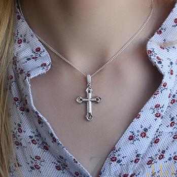 Золотой крестик в белом цвете с бриллиантами Благородство VLA--37089