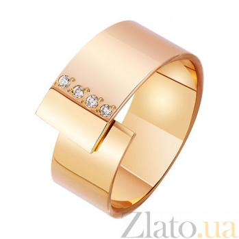 Золотое обручальное кольцо Соединение судеб в красном цвете с фианитами TRF--412918