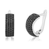 Серебряные серьги с черным цирконием Элисо