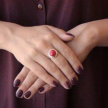 Серебряное кольцо Вселенная с золотой вставкой и кораллом