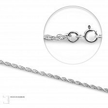 Серебряная цепочка Эмма с родием в кордовом плетении, 1,5мм
