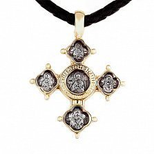 Золотой крест на кожаном жгуте с золотыми вставками Вседержитель