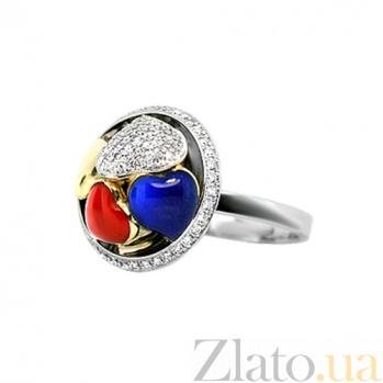 Золотое кольцо с бриллиантами и эмалью Тайная страсть 000029857