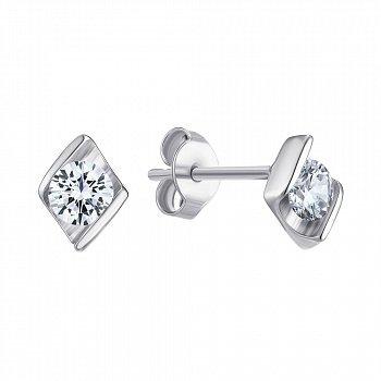 Серебряные серьги-пуссеты с фианитами 000149318