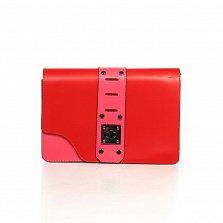 Кожаный клатч Genuine Leather 8917 розово-красного цвета с декоративной пряжкой