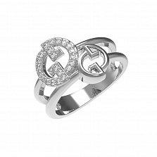 Серебряное кольцо Катрин с двойной шинкой и белыми фианитами в стиле Гуччи