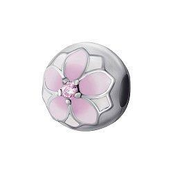 Серебряный шарм-клипса с розовой эмалью и цирконием 000078616