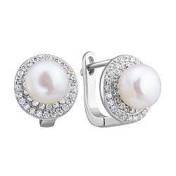 Серебряные серьги с жемчугом и цирконием 000132572