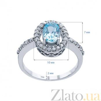 Серебряное кольцо с голубым топазом и фианитами Джейна 000027135