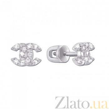 Золотые серьги-гвоздики Имидж в белом цвете с фианитами в стиле Шанель 000007243