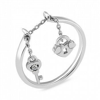 Серебряное кольцо с подвеской 000150566