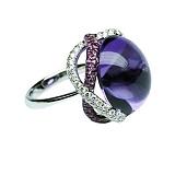 Золотое кольцо с аметистом, розовыми сапфирами и бриллиантами Лаванда