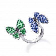 Серебряное кольцо Бабочки с зелеными алпанитами, синей шпинелью и черными фианитами