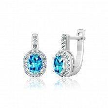 Серебряные серьги Арлетта с голубыми и белыми фианитами
