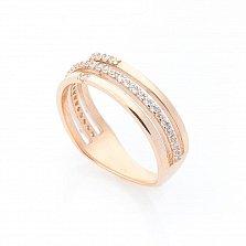 Золотое кольцо Сага с тройной шинкой и дорожками фианитов