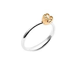 Серебряное кольцо на верхнюю фалангу Нежный тюльпан с подвижной бусиной-цветочком и позолотой