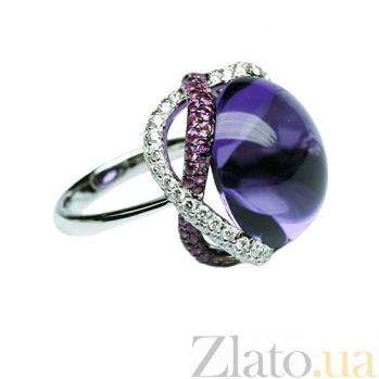 Золотое кольцо с аметистом, розовыми сапфирами и бриллиантами Лаванда 000026893
