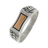 Серебряное кольцо с золотой вставкой Геракл