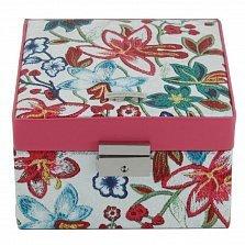 Розовая шкатулка для украшений WindRose Blossom с цветочным принтом и большим зеркалом