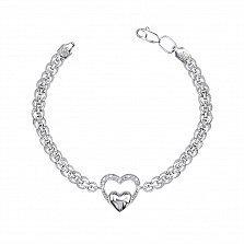 Серебряный браслет Тристи с подвеской-сердечком и фианитами