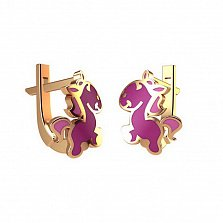 Золотые серьги Лошадка в евро цвете с розовой эмалью