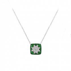 Колье из белого золота Звезда эльфов с бриллиантами и цаворитами