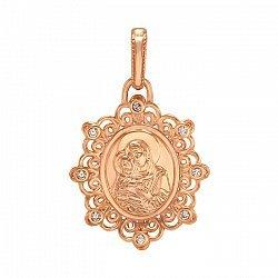 Ладанка из красного золота Божия Матерь Владимирская с фианитами 000063842